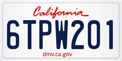 CA license plate 6TPW201