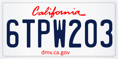 CA license plate 6TPW203