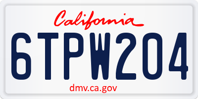 CA license plate 6TPW204