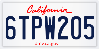 CA license plate 6TPW205