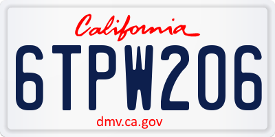 CA license plate 6TPW206