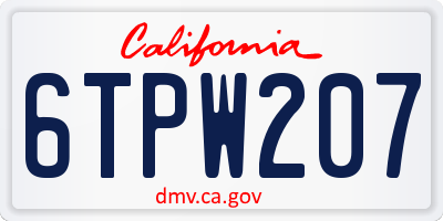 CA license plate 6TPW207