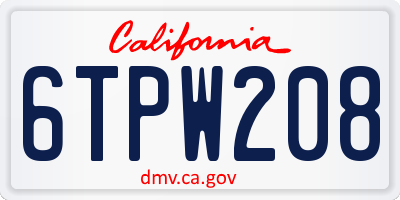 CA license plate 6TPW208