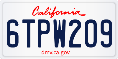 CA license plate 6TPW209