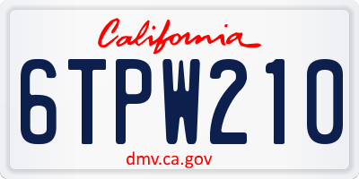 CA license plate 6TPW210