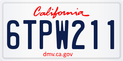 CA license plate 6TPW211