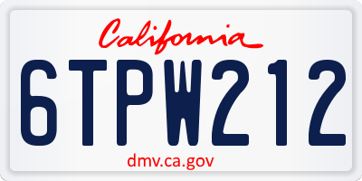 CA license plate 6TPW212