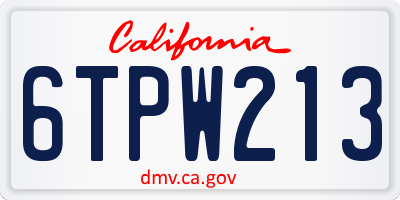 CA license plate 6TPW213