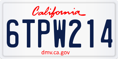 CA license plate 6TPW214