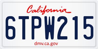 CA license plate 6TPW215