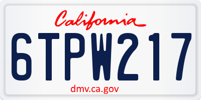 CA license plate 6TPW217
