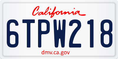 CA license plate 6TPW218