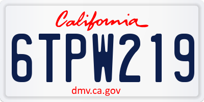 CA license plate 6TPW219