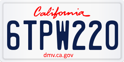 CA license plate 6TPW220
