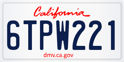 CA license plate 6TPW221
