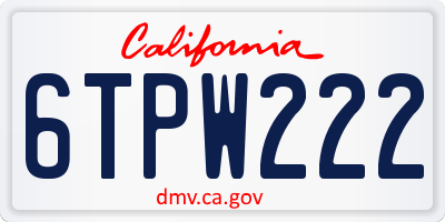 CA license plate 6TPW222