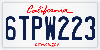 CA license plate 6TPW223