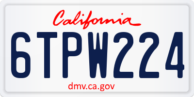 CA license plate 6TPW224
