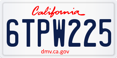 CA license plate 6TPW225