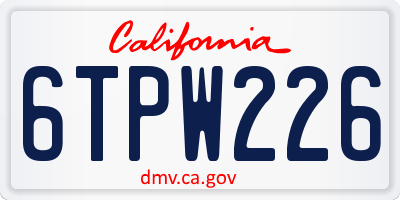 CA license plate 6TPW226