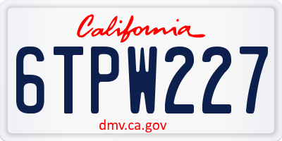 CA license plate 6TPW227