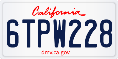 CA license plate 6TPW228
