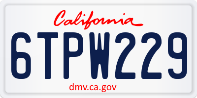 CA license plate 6TPW229