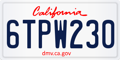 CA license plate 6TPW230