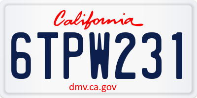 CA license plate 6TPW231