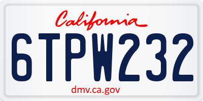 CA license plate 6TPW232