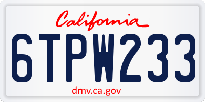 CA license plate 6TPW233
