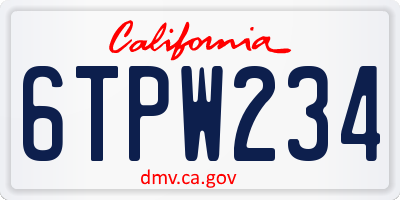 CA license plate 6TPW234