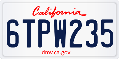 CA license plate 6TPW235