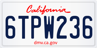 CA license plate 6TPW236