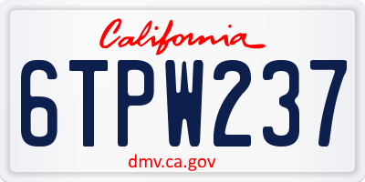 CA license plate 6TPW237