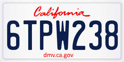 CA license plate 6TPW238