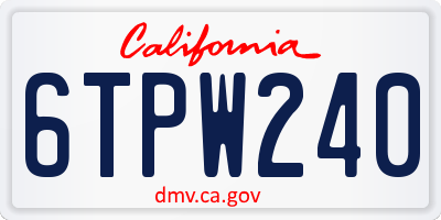 CA license plate 6TPW240