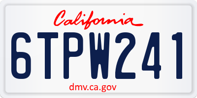 CA license plate 6TPW241