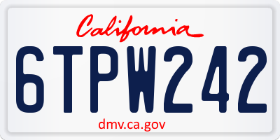 CA license plate 6TPW242