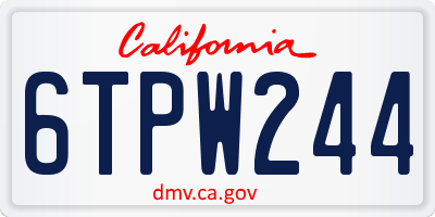 CA license plate 6TPW244