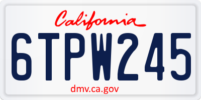 CA license plate 6TPW245