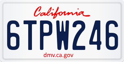 CA license plate 6TPW246