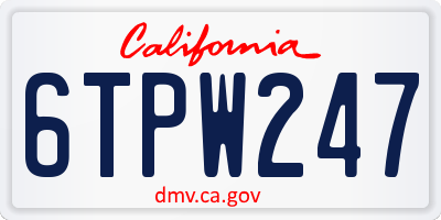CA license plate 6TPW247