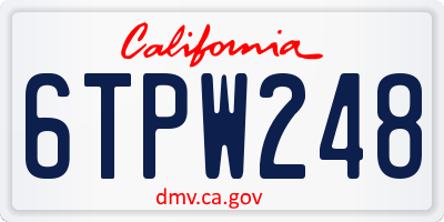 CA license plate 6TPW248