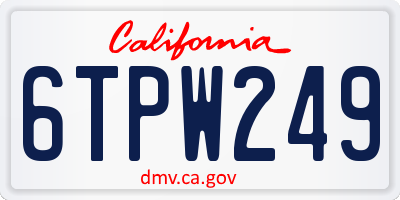 CA license plate 6TPW249
