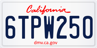 CA license plate 6TPW250