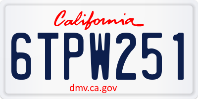 CA license plate 6TPW251