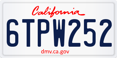 CA license plate 6TPW252
