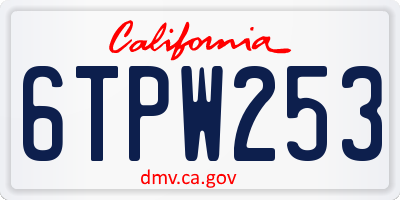 CA license plate 6TPW253