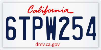 CA license plate 6TPW254